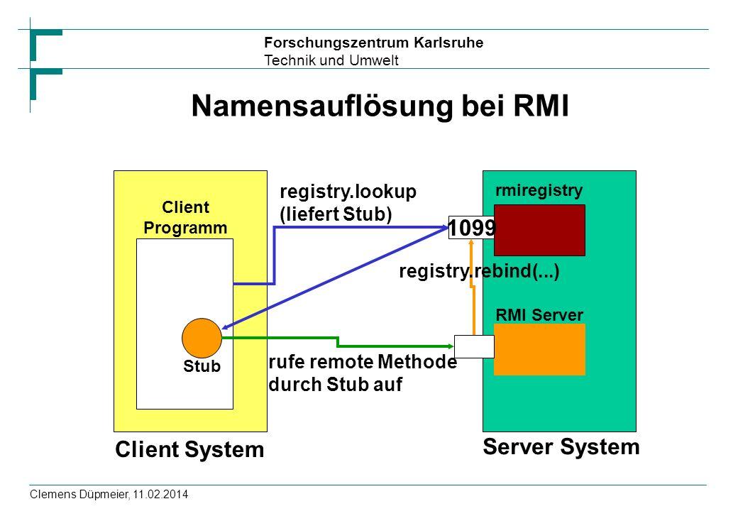 Forschungszentrum Karlsruhe Technik und Umwelt Clemens Düpmeier, 11.02.2014 Namensauflösung bei RMI Client System Server System Client Programm rmireg