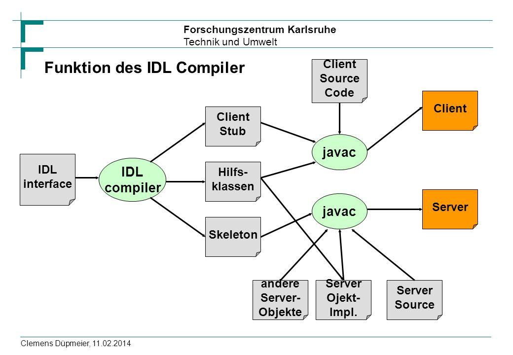 Forschungszentrum Karlsruhe Technik und Umwelt Clemens Düpmeier, 11.02.2014 IDL interface IDL compiler Client Stub Hilfs- klassen Skeleton javac Clien