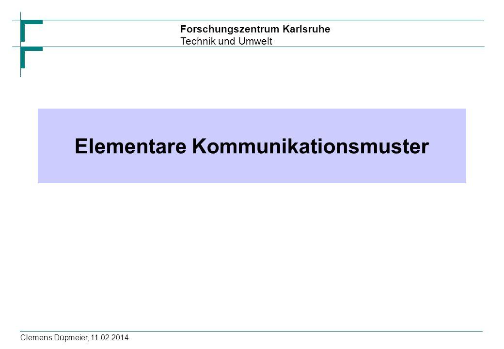 Forschungszentrum Karlsruhe Technik und Umwelt Clemens Düpmeier, 11.02.2014 Basisstruktur RMI Client Security Manager setzen = Schutz vor Servercode Lookup des Serverobjektes im Registry Verwendung der Methoden des Remote Objektes if (System.getSecurityManager() == null) System.setSecurityManager(new RMISecurityManager()); String name= //hostname/Compute ; try { Registry registry = LocateRegistry.getRegistry(args[0]); Compute engine=(Compute)registry.lookup(name); // Methoden des Remote Objektes verwenden } catch....