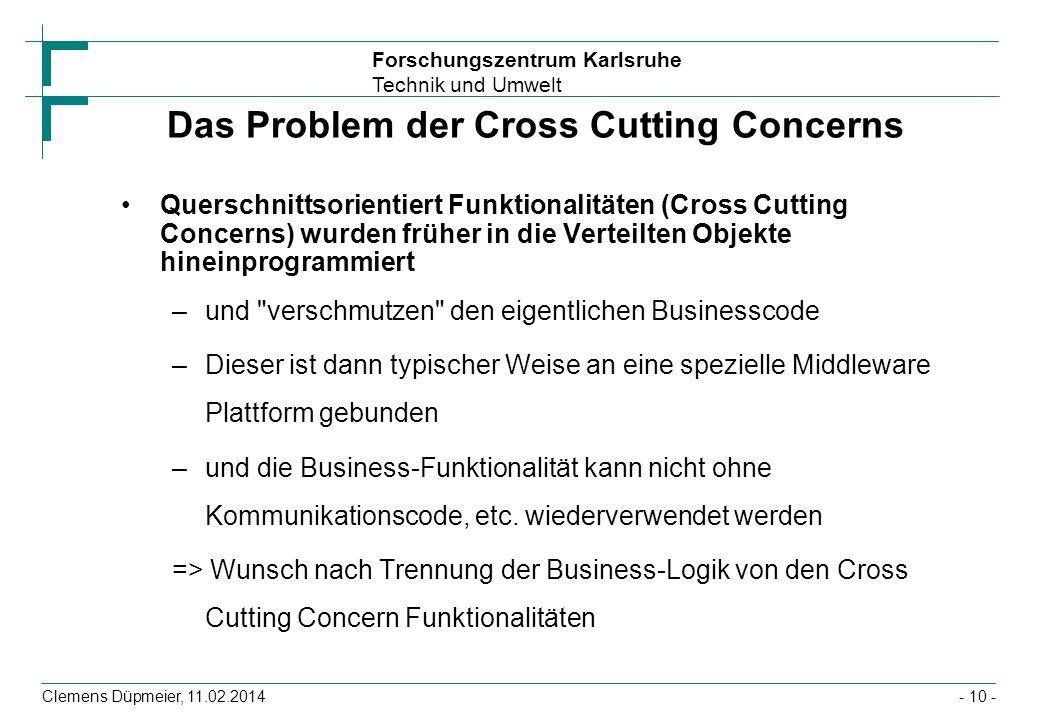 Forschungszentrum Karlsruhe Technik und Umwelt Clemens Düpmeier, 11.02.2014 Das Problem der Cross Cutting Concerns Querschnittsorientiert Funktionalit