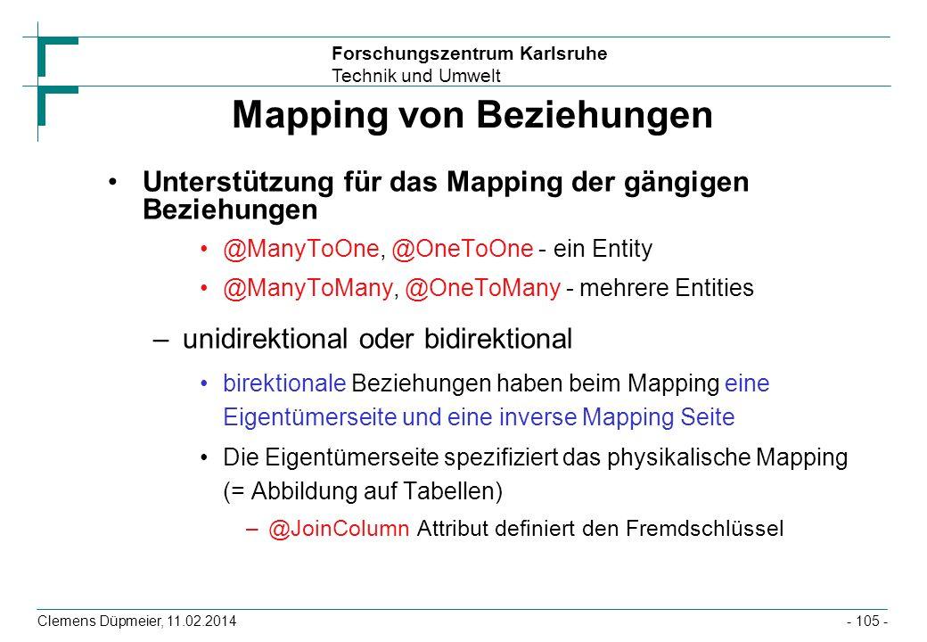 Forschungszentrum Karlsruhe Technik und Umwelt Clemens Düpmeier, 11.02.2014 Mapping von Beziehungen Unterstützung für das Mapping der gängigen Beziehu