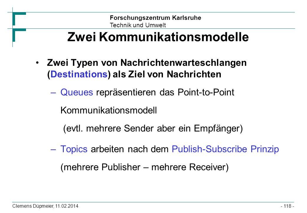 Forschungszentrum Karlsruhe Technik und Umwelt Clemens Düpmeier, 11.02.2014 Zwei Kommunikationsmodelle Zwei Typen von Nachrichtenwarteschlangen (Desti