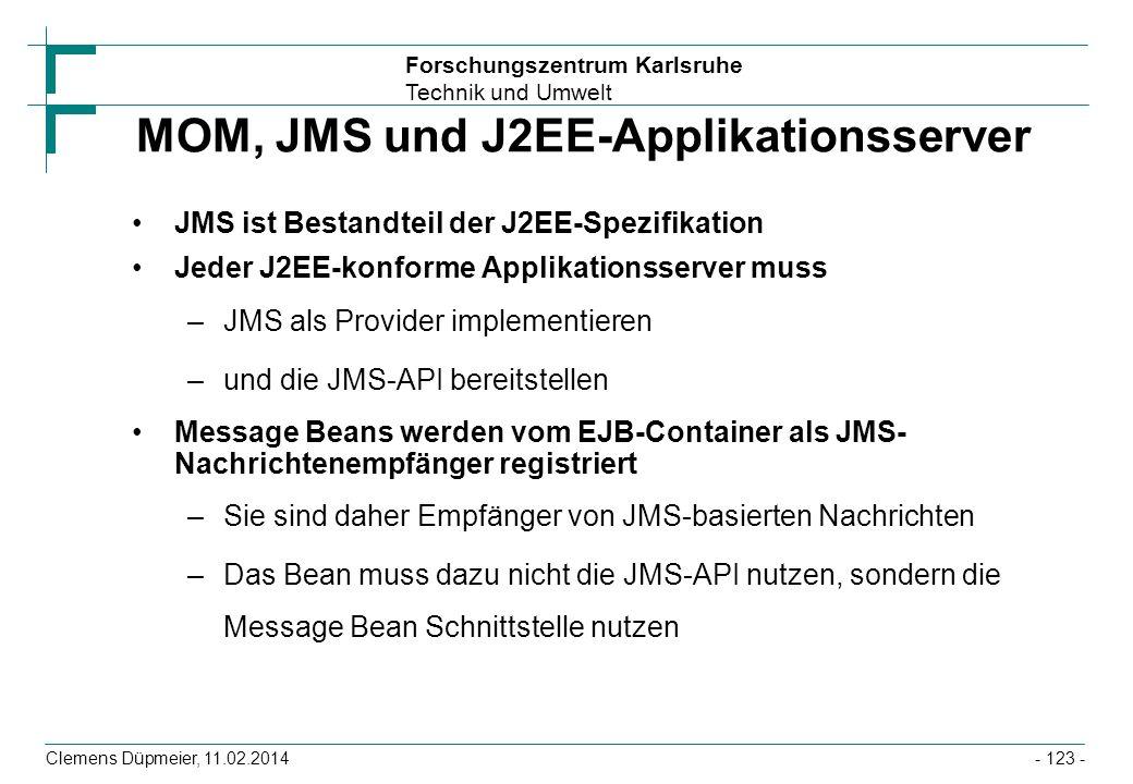 Forschungszentrum Karlsruhe Technik und Umwelt Clemens Düpmeier, 11.02.2014 MOM, JMS und J2EE-Applikationsserver JMS ist Bestandteil der J2EE-Spezifik