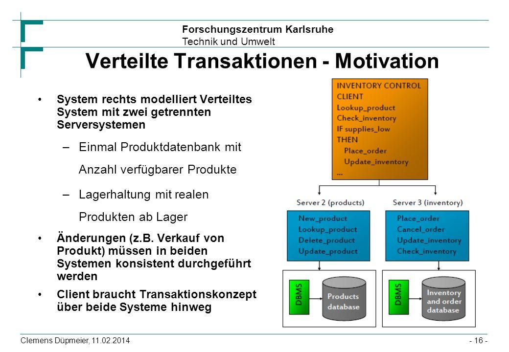 Forschungszentrum Karlsruhe Technik und Umwelt Clemens Düpmeier, 11.02.2014 Verteilte Transaktionen - Motivation System rechts modelliert Verteiltes S