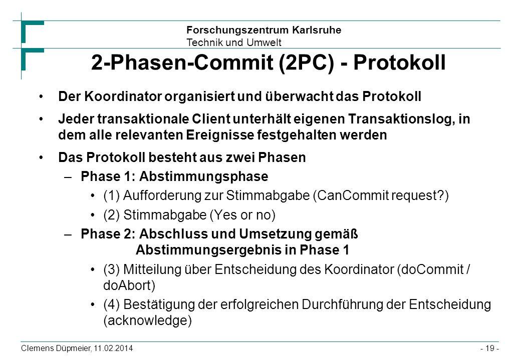 Forschungszentrum Karlsruhe Technik und Umwelt Clemens Düpmeier, 11.02.2014 2-Phasen-Commit (2PC) - Protokoll Der Koordinator organisiert und überwach