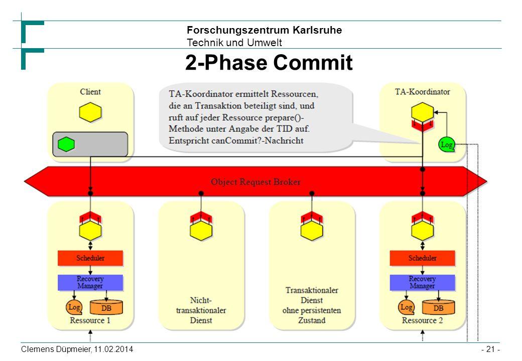 Forschungszentrum Karlsruhe Technik und Umwelt Clemens Düpmeier, 11.02.2014 2-Phase Commit - 21 -