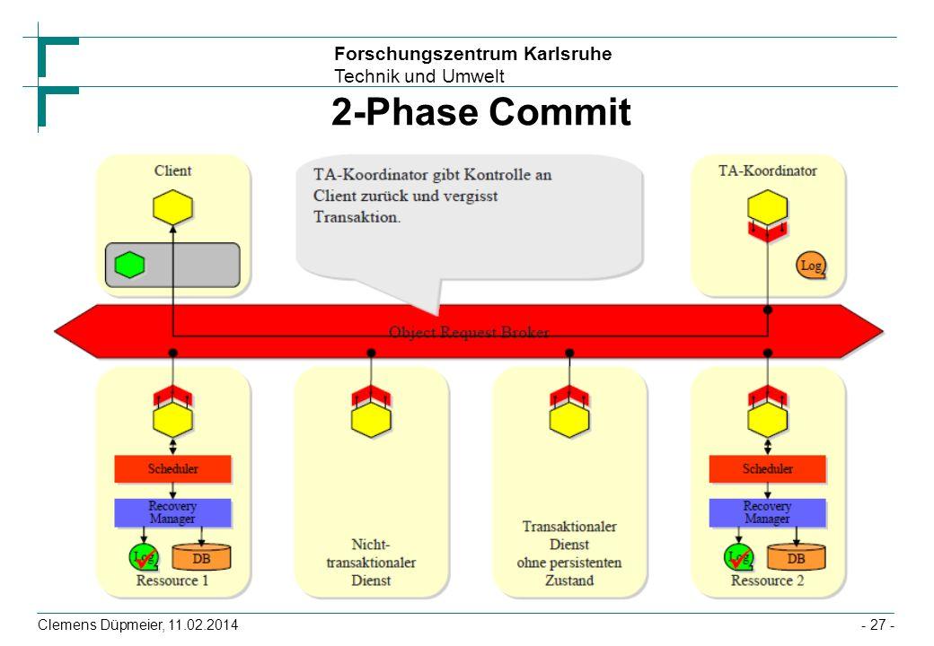 Forschungszentrum Karlsruhe Technik und Umwelt Clemens Düpmeier, 11.02.2014 2-Phase Commit - 27 -
