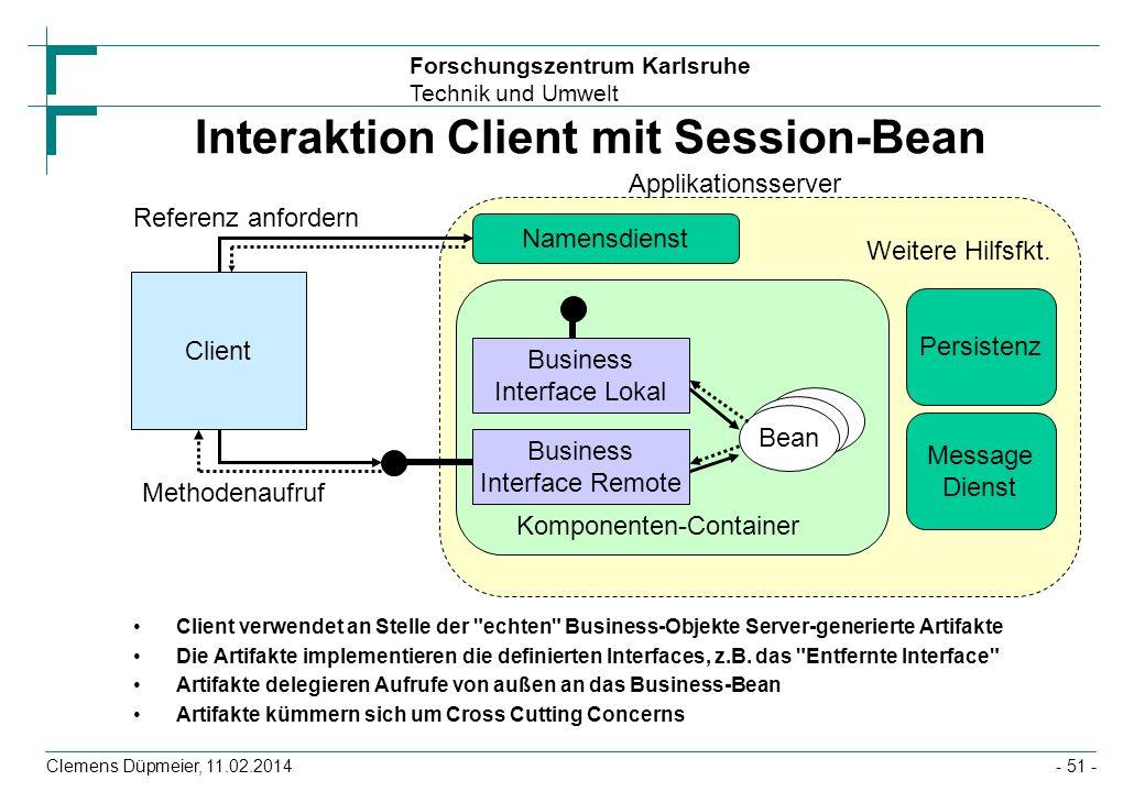 Forschungszentrum Karlsruhe Technik und Umwelt Clemens Düpmeier, 11.02.2014 Interaktion Client mit Session-Bean Client verwendet an Stelle der