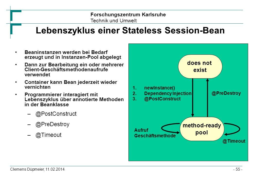 Forschungszentrum Karlsruhe Technik und Umwelt Clemens Düpmeier, 11.02.2014 Lebenszyklus einer Stateless Session-Bean Beaninstanzen werden bei Bedarf