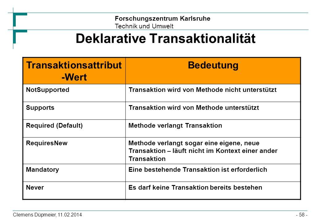 Forschungszentrum Karlsruhe Technik und Umwelt Clemens Düpmeier, 11.02.2014 Deklarative Transaktionalität Transaktionsattribut -Wert Bedeutung NotSupp