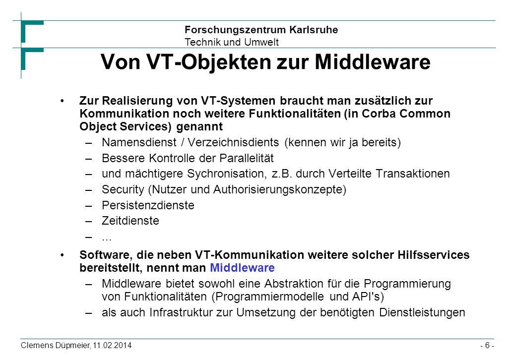 Forschungszentrum Karlsruhe Technik und Umwelt Clemens Düpmeier, 11.02.2014 Kommunikationsschnittstellen Session-Beans stellen die Schnittstelle (Fassade) von Geschäftslogik nach aussen da –Sie bieten Schnittstellen zur lokalen (@Local Interface) entfernten RMI-IIOP basierten (@Remote Interface) oder sogar Web-Service (@WebService Interface) Kommunikation mit Clients Verschiedene Session-Bean Varianten definieren dabei, welche Art der Bindung zwischen Client und Bean besteht –zustandslos (@Stateless) –zustandsbehaftet (i.e.