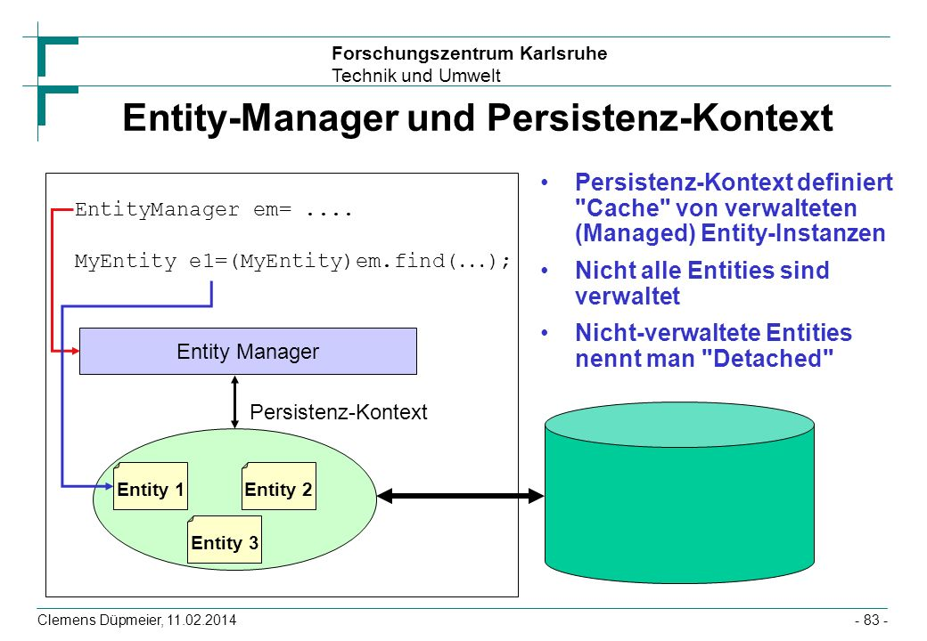 Forschungszentrum Karlsruhe Technik und Umwelt Clemens Düpmeier, 11.02.2014 Entity-Manager und Persistenz-Kontext Persistenz-Kontext definiert