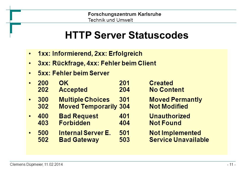 Forschungszentrum Karlsruhe Technik und Umwelt Clemens Düpmeier, 11.02.2014- 11 - HTTP Server Statuscodes 1xx: Informierend, 2xx: Erfolgreich 3xx: Rüc