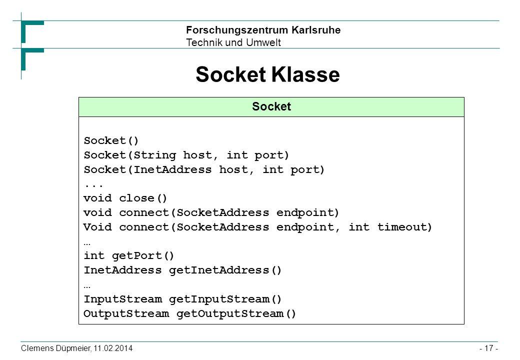 Forschungszentrum Karlsruhe Technik und Umwelt Clemens Düpmeier, 11.02.2014- 17 - Socket Klasse Socket Socket() Socket(String host, int port) Socket(I