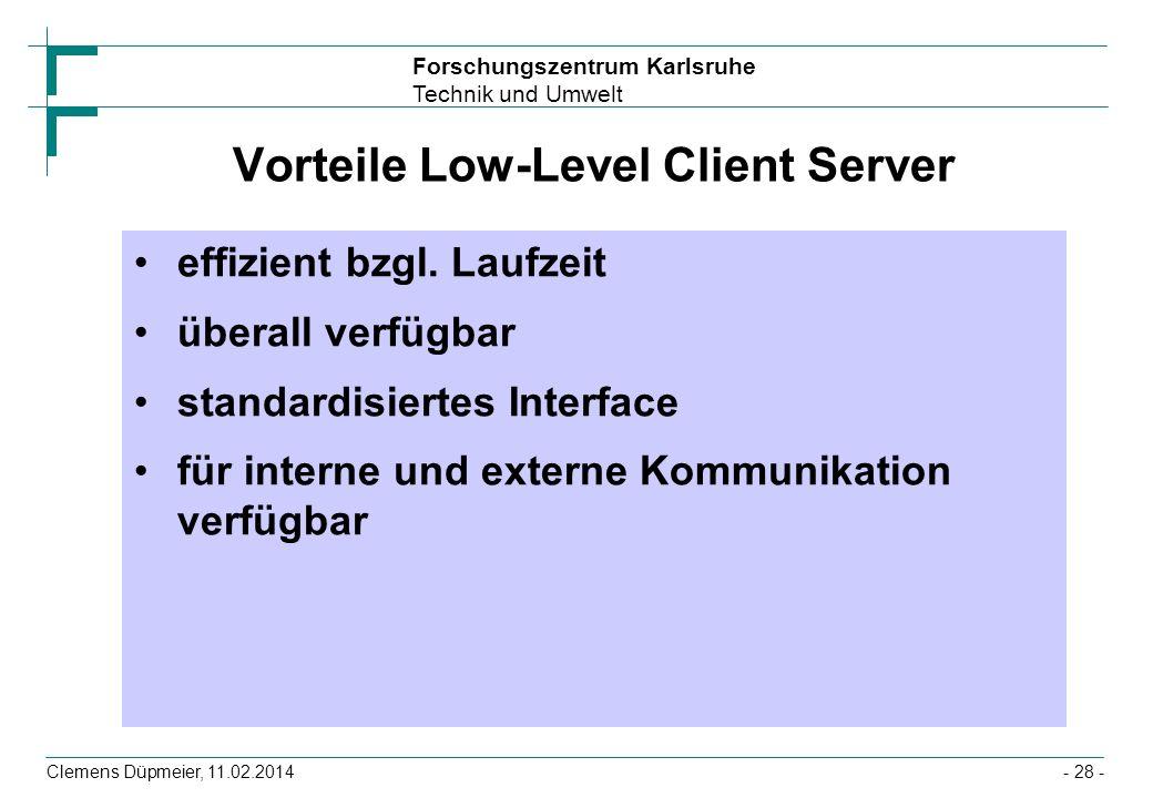 Forschungszentrum Karlsruhe Technik und Umwelt Clemens Düpmeier, 11.02.2014- 28 - Vorteile Low-Level Client Server effizient bzgl. Laufzeit überall ve