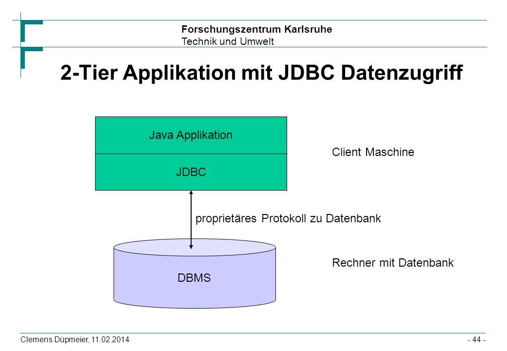 Forschungszentrum Karlsruhe Technik und Umwelt Clemens Düpmeier, 11.02.2014- 44 - 2-Tier Applikation mit JDBC Datenzugriff Java Applikation JDBC DBMS