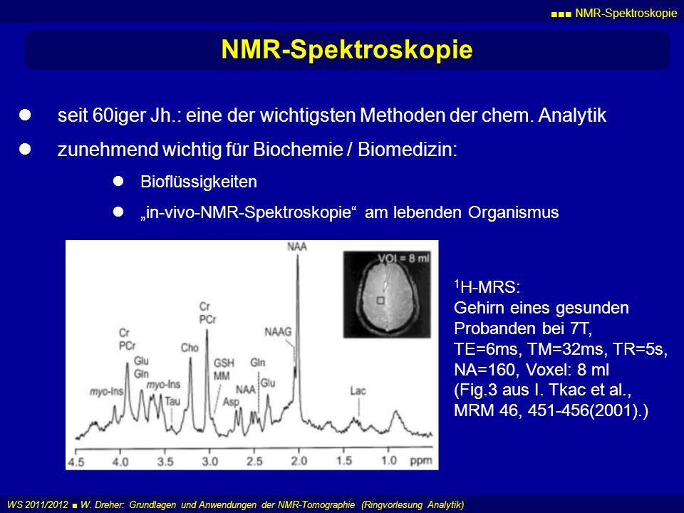 NMR-Spektroskopie WS 2011/2012 W. Dreher: Grundlagen und Anwendungen der NMR-Tomographie (Ringvorlesung Analytik) NMR-Spektroskopie seit 60iger Jh.: e