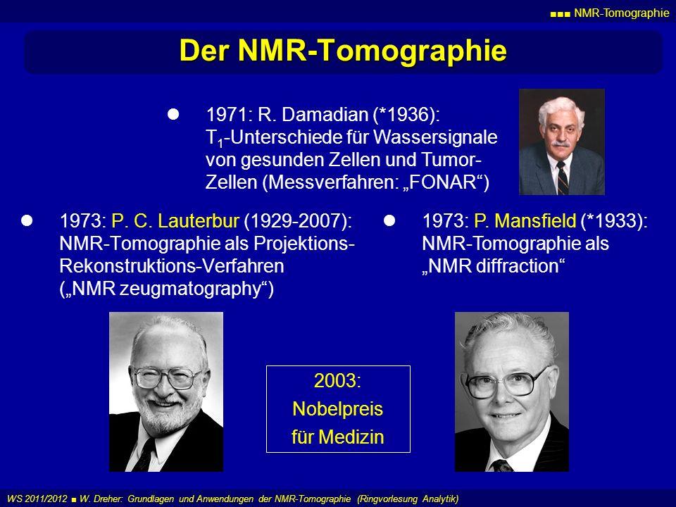 NMR-Tomographie WS 2011/2012 W. Dreher: Grundlagen und Anwendungen der NMR-Tomographie (Ringvorlesung Analytik) Der NMR-Tomographie 1973: P. C. Lauter