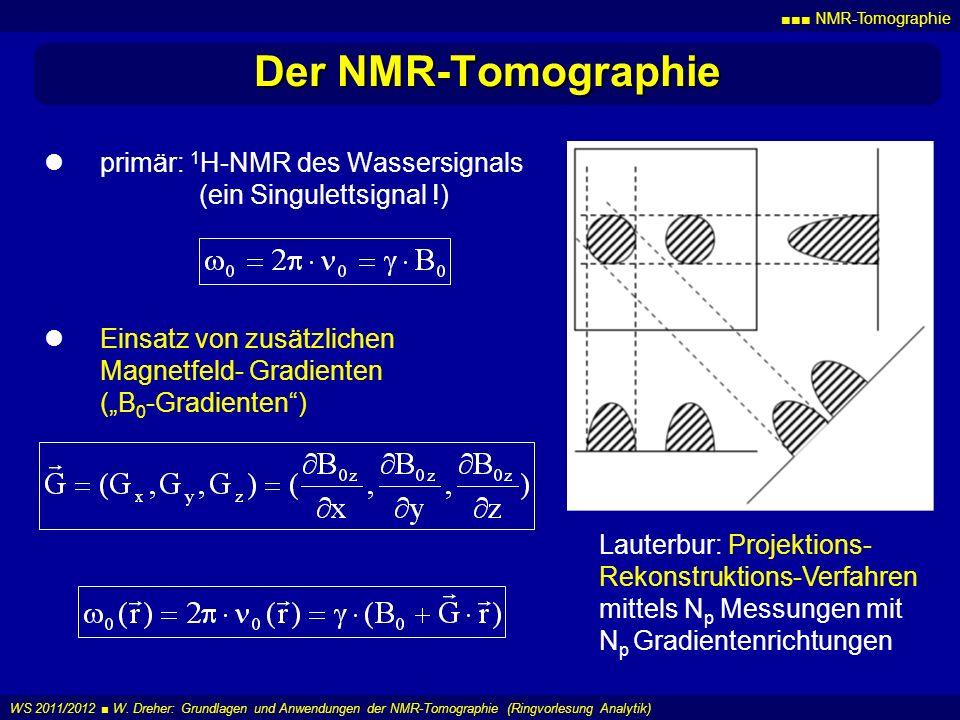 NMR-Tomographie WS 2011/2012 W. Dreher: Grundlagen und Anwendungen der NMR-Tomographie (Ringvorlesung Analytik) Der NMR-Tomographie primär: 1 H-NMR de