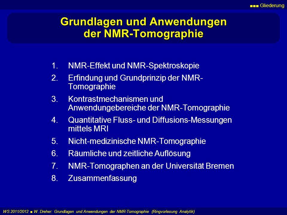 Gliederung WS 2011/2012 W. Dreher: Grundlagen und Anwendungen der NMR-Tomographie (Ringvorlesung Analytik) Grundlagen und Anwendungen der NMR-Tomograp