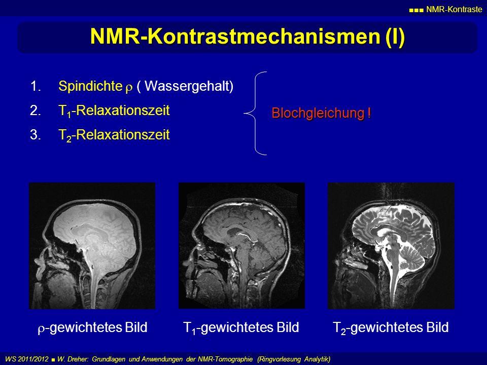 NMR-Kontraste WS 2011/2012 W. Dreher: Grundlagen und Anwendungen der NMR-Tomographie (Ringvorlesung Analytik) NMR-Kontrastmechanismen (I) 1.Spindichte
