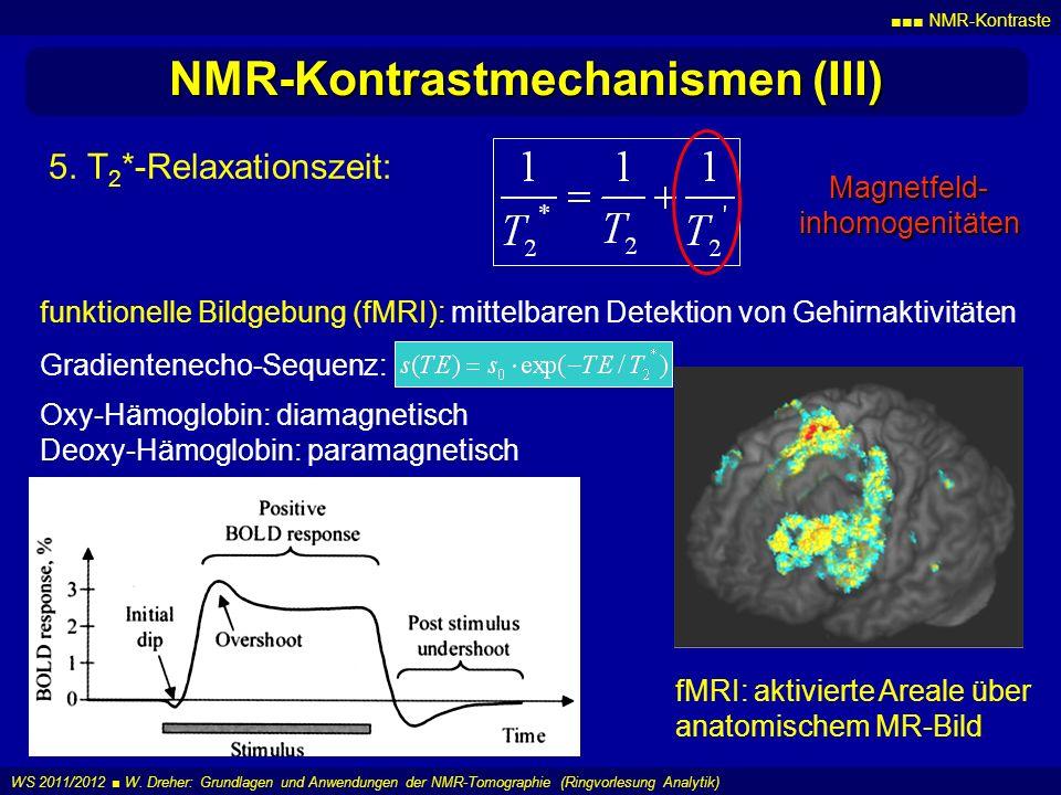 NMR-Kontraste WS 2011/2012 W. Dreher: Grundlagen und Anwendungen der NMR-Tomographie (Ringvorlesung Analytik) NMR-Kontrastmechanismen (III) 5. T 2 *-R