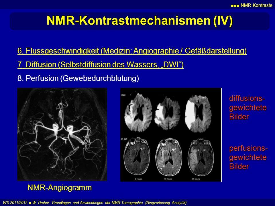 NMR-Kontraste WS 2011/2012 W. Dreher: Grundlagen und Anwendungen der NMR-Tomographie (Ringvorlesung Analytik) NMR-Kontrastmechanismen (IV) 6. Flussges