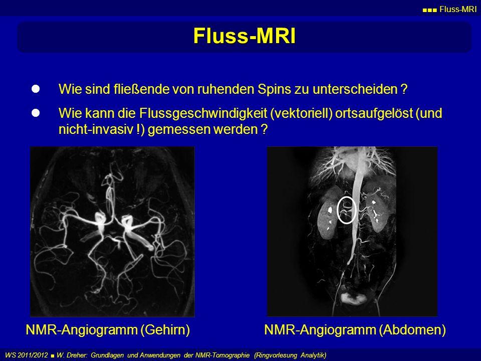 Fluss-MRI WS 2011/2012 W. Dreher: Grundlagen und Anwendungen der NMR-Tomographie (Ringvorlesung Analytik) Fluss-MRI Wie sind fließende von ruhenden Sp