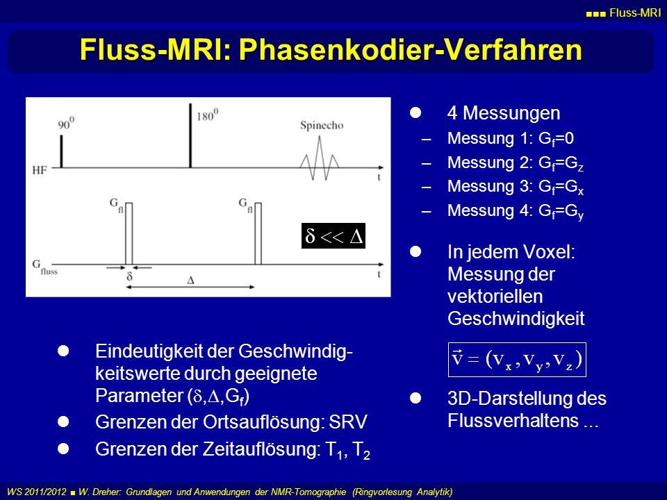 Fluss-MRI WS 2011/2012 W. Dreher: Grundlagen und Anwendungen der NMR-Tomographie (Ringvorlesung Analytik) Fluss-MRI: Phasenkodier-Verfahren 4 Messunge