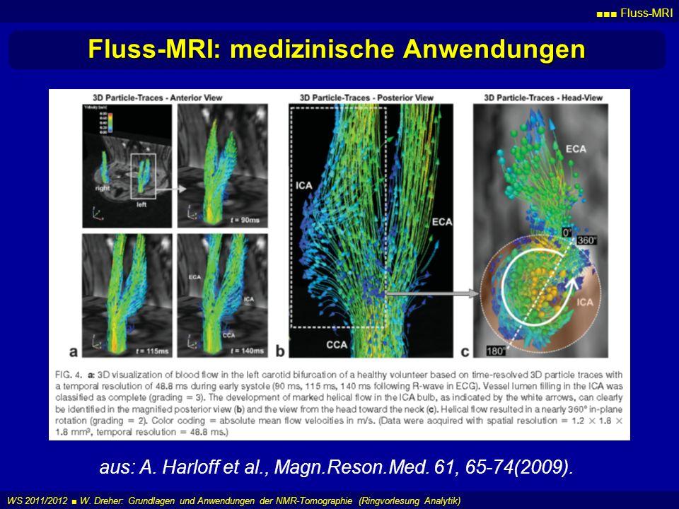 Fluss-MRI WS 2011/2012 W. Dreher: Grundlagen und Anwendungen der NMR-Tomographie (Ringvorlesung Analytik) Fluss-MRI: medizinische Anwendungen aus: A.