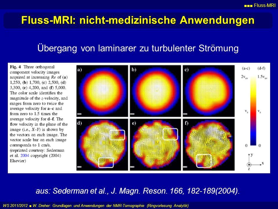 Fluss-MRI WS 2011/2012 W. Dreher: Grundlagen und Anwendungen der NMR-Tomographie (Ringvorlesung Analytik) Fluss-MRI: nicht-medizinische Anwendungen au