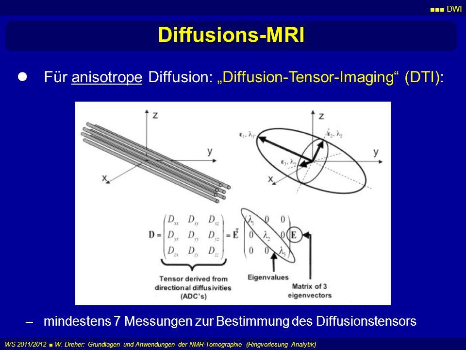 DWI WS 2011/2012 W. Dreher: Grundlagen und Anwendungen der NMR-Tomographie (Ringvorlesung Analytik) Diffusions-MRI Für anisotrope Diffusion: Diffusion