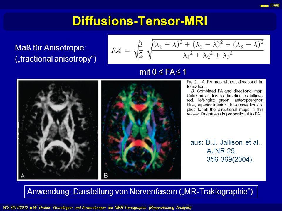DWI WS 2011/2012 W. Dreher: Grundlagen und Anwendungen der NMR-Tomographie (Ringvorlesung Analytik) Diffusions-Tensor-MRI Maß für Anisotropie: (fracti