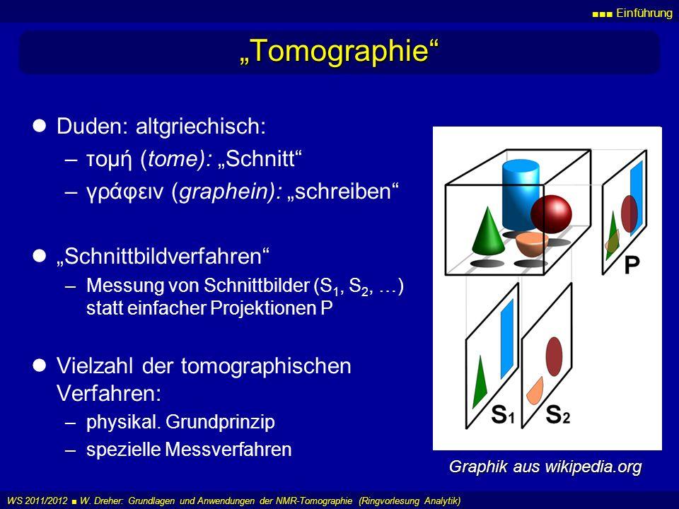 Einführung WS 2011/2012 W. Dreher: Grundlagen und Anwendungen der NMR-Tomographie (Ringvorlesung Analytik) Tomographie Duden: altgriechisch: –τομή (to