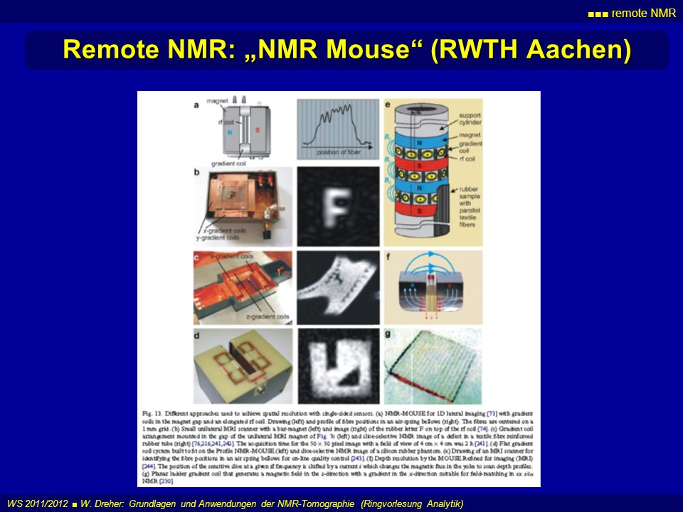 remote NMR WS 2011/2012 W. Dreher: Grundlagen und Anwendungen der NMR-Tomographie (Ringvorlesung Analytik) Remote NMR: NMR Mouse (RWTH Aachen)