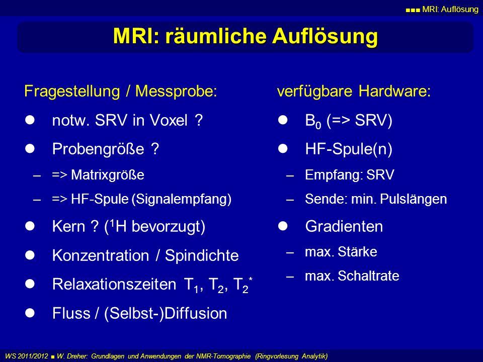 MRI: Auflösung WS 2011/2012 W. Dreher: Grundlagen und Anwendungen der NMR-Tomographie (Ringvorlesung Analytik) MRI: räumliche Auflösung Fragestellung