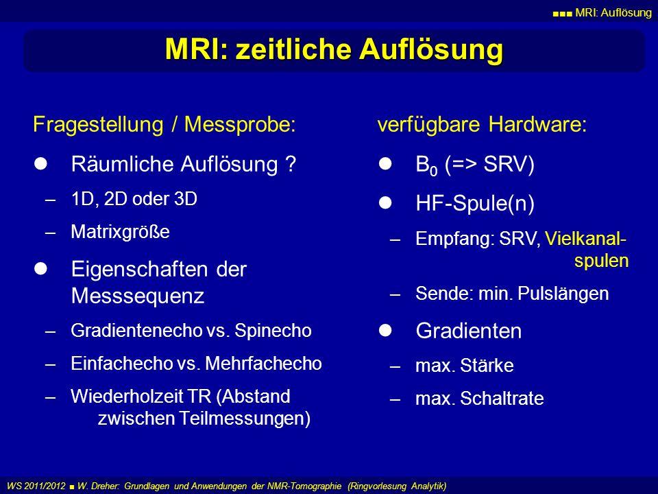 MRI: Auflösung WS 2011/2012 W. Dreher: Grundlagen und Anwendungen der NMR-Tomographie (Ringvorlesung Analytik) MRI: zeitliche Auflösung Fragestellung