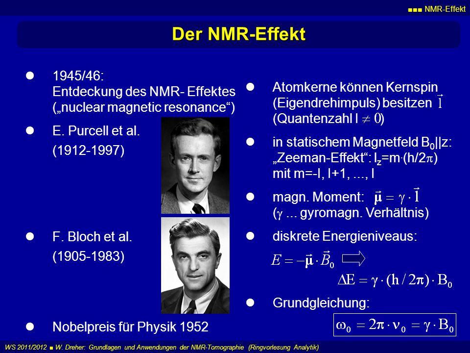NMR-Effekt WS 2011/2012 W. Dreher: Grundlagen und Anwendungen der NMR-Tomographie (Ringvorlesung Analytik) Der NMR-Effekt 1945/46: Entdeckung des NMR-