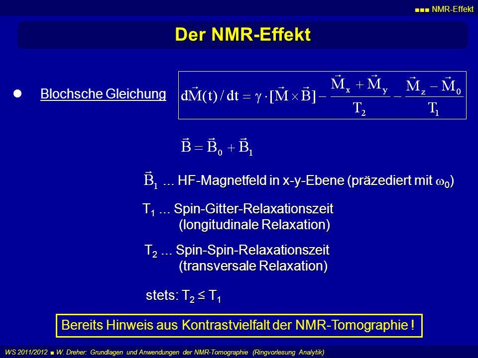 NMR-Effekt WS 2011/2012 W. Dreher: Grundlagen und Anwendungen der NMR-Tomographie (Ringvorlesung Analytik) Der NMR-Effekt Blochsche Gleichung... HF-Ma