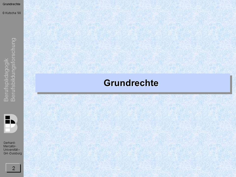 Berufspädagogik Berufsbildungsforschung Gerhard- Mercator- Universität – GH -Duisburg © Kutscha 98 3 Art.