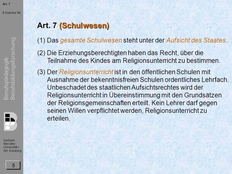 Berufspädagogik Berufsbildungsforschung Gerhard- Mercator- Universität – GH -Duisburg © Kutscha 98 16 Die Gesetzgebung des Bundes Der Bund