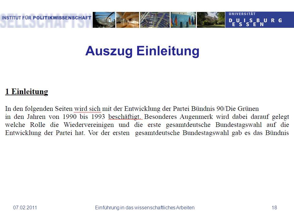 Einführung in das wissenschaftliches Arbeiten1807.02.2011 Auszug Einleitung