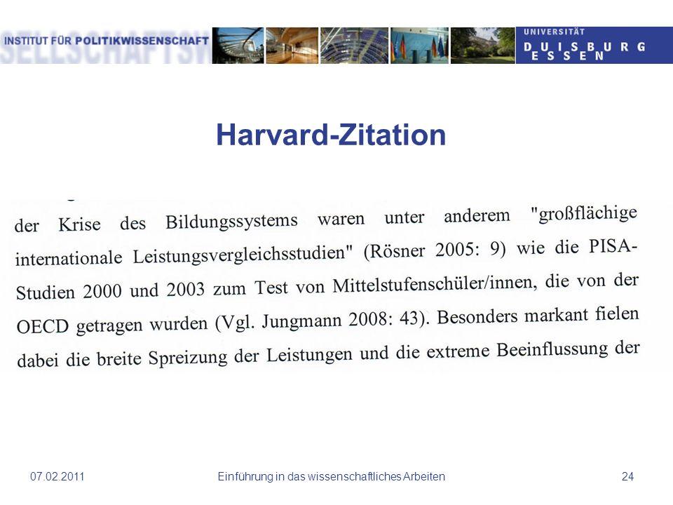 Harvard-Zitation Einführung in das wissenschaftliches Arbeiten2407.02.2011