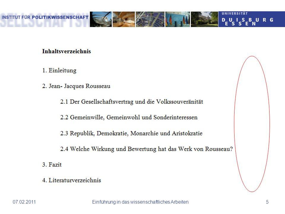 Einführung in das wissenschaftliches Arbeiten1607.02.2011 Auszug Einleitung