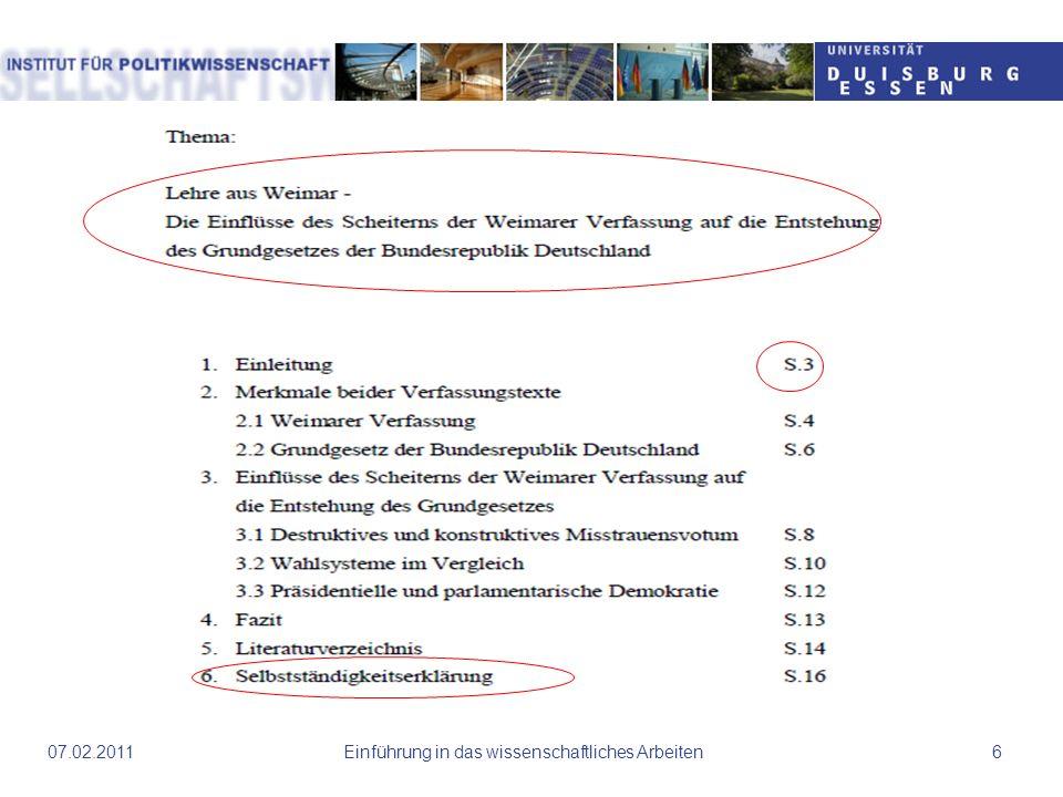 Einführung in das wissenschaftliches Arbeiten607.02.2011