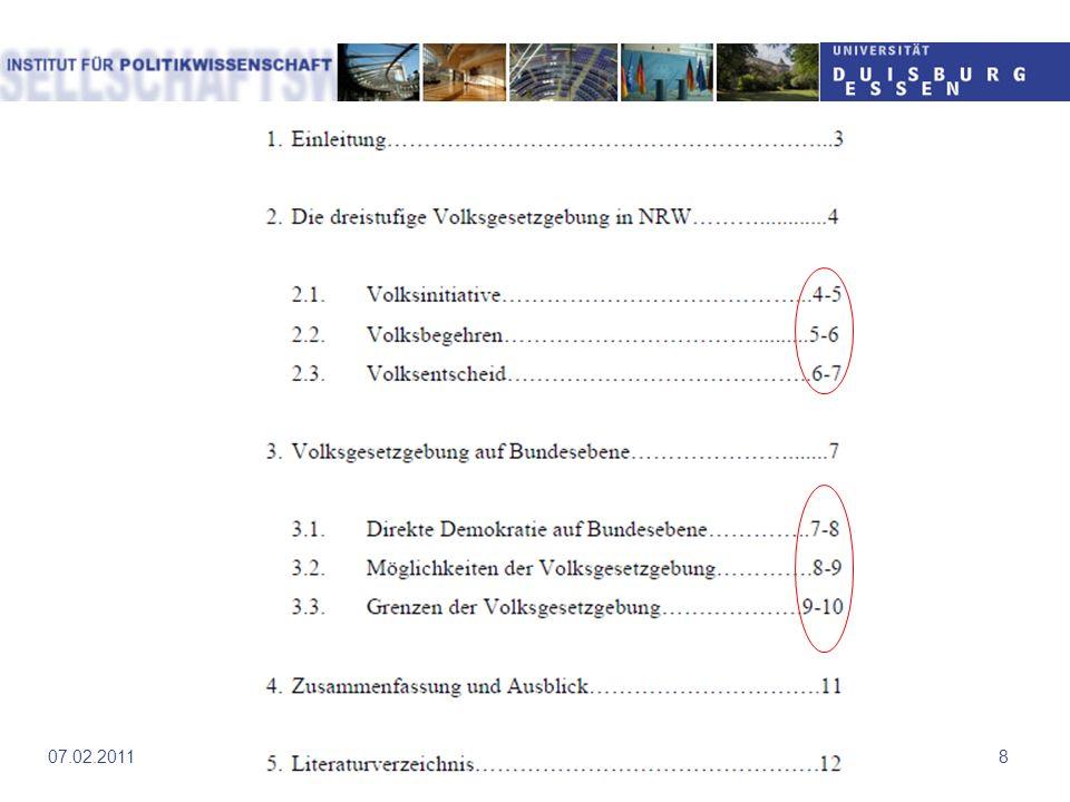 Einleitung und Schluss Einführung in das wissenschaftliches Arbeiten907.02.2011