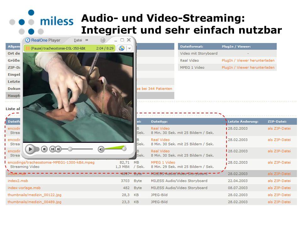 Audio- und Video-Streaming: Integriert und sehr einfach nutzbar
