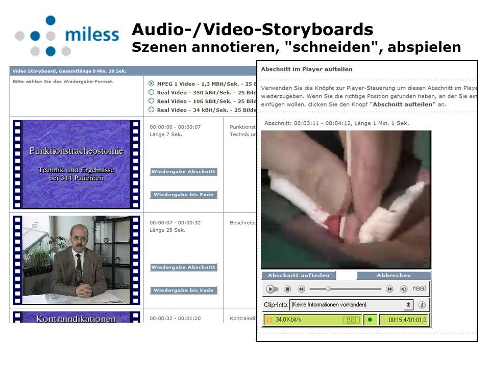 Audio-/Video-Storyboards Szenen annotieren, schneiden , abspielen