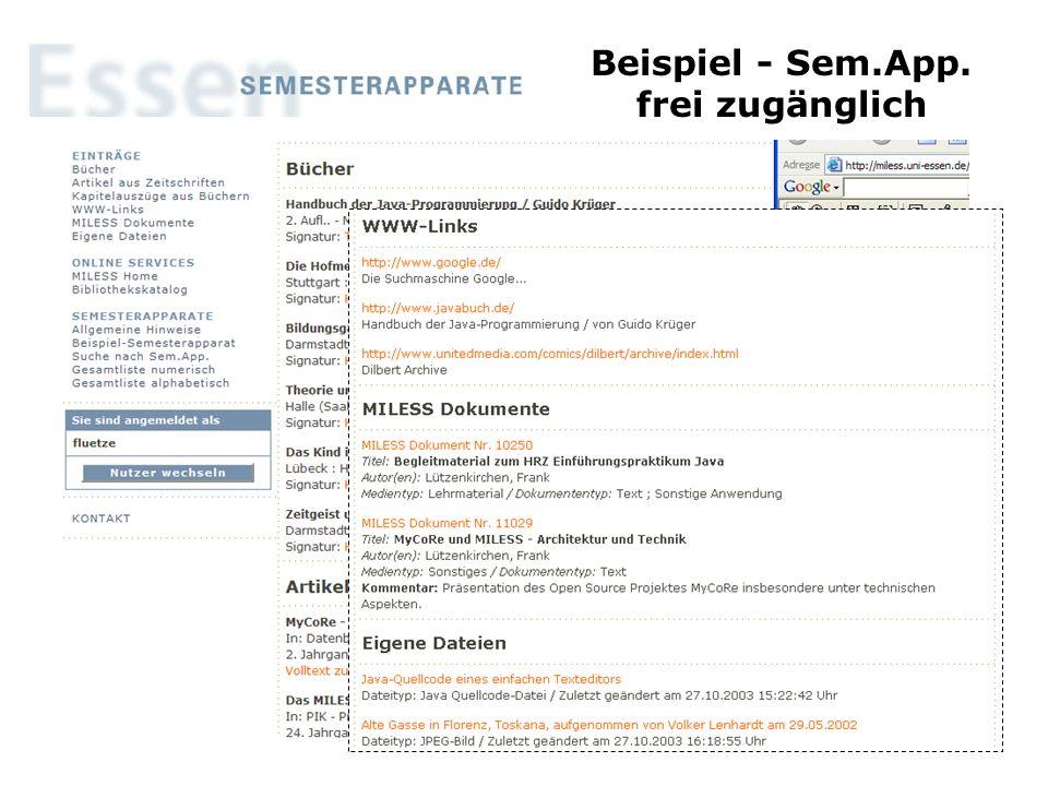 Beispiel - Sem.App. frei zugänglich