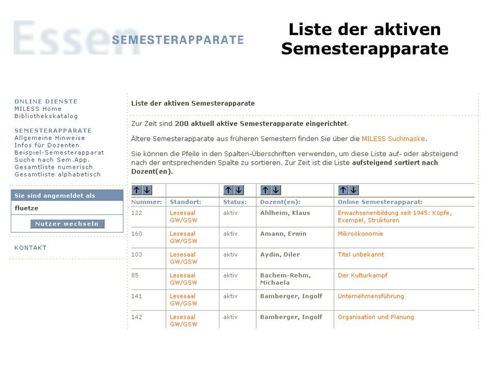 Liste der aktiven Semesterapparate